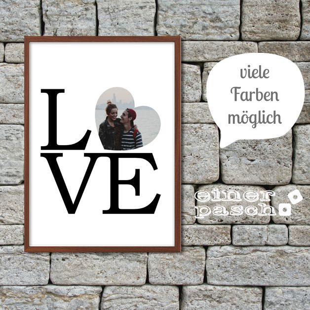 LOVE Print mit Foto im Herz zum Valentinstag, Geburtstag, Jahrestag oder Hochzeitstag