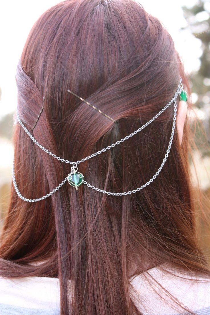 Chain Headband fantasy elf crown headwrap GREEN by WonderlandBox, $10.00
