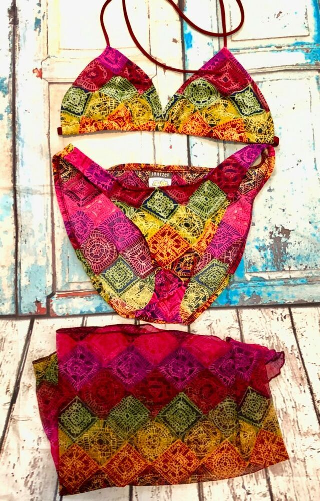 07c404b64b Jantzen Electric Beach 2PC Multicolored Bikini With Matching Mini Sarong.  Bikini has beautiful vibrant colors.   eBay!
