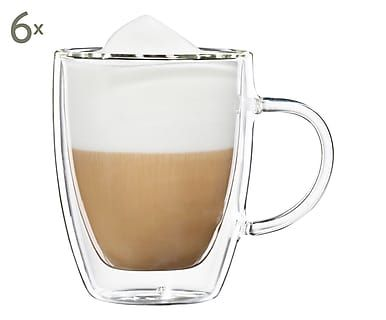 Doppelwandige Kaffeegläser Verona, 6 Stück, H 8 cm