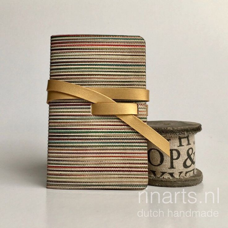 Leather travel notebook / leather sketchbook in multicolor striped leather