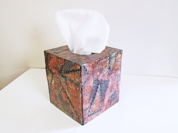 Decorative Tissue Box Cover in copper and by FischerFineArts, $89.00