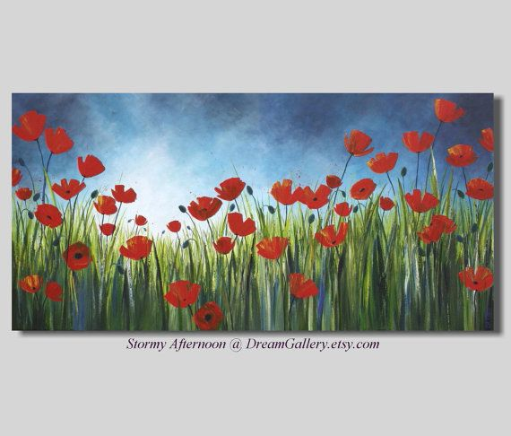 landscape paintings abstract poppy paintings by DreamGallery, $549.00