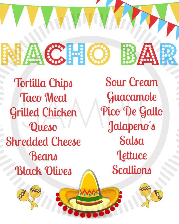 Fiesta / Taco / Cinco De Mayo / Taco Bar / Nacho Bar Party Menu by MyPrettyPartyShoppe on Etsy https://www.etsy.com/listing/192731112/fiesta-taco-cinco-de-mayo-taco-bar-nacho