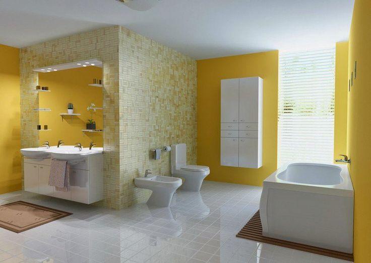 salle de bain colorée et élégante avec une peinture murale jaune, carrelage mural jaune pâle et carrelage de sol blanc