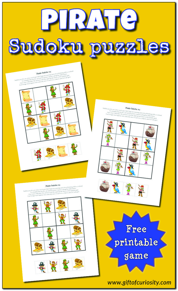 Pirate Sudoku Puzzles Puzzles For Kids Printable Puzzles For Kids Sudoku [ 1200 x 735 Pixel ]