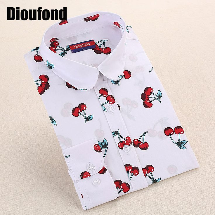 Dioufond New Floral Long Sleeve Vintage Blouse Cherry Turn Down Collar Shirt Blusas Feminino Ladies Blouses Womens  Tops Fashion     Tag a friend who would love this!     FREE Shipping Worldwide     Get it here ---> http://www.pujafashion.com/product/dioufond-new-floral-long-sleeve-vintage-blouse-cherry-turn-down-collar-shirt-blusas-feminino-ladies-blouses-womens-tops-fashion/