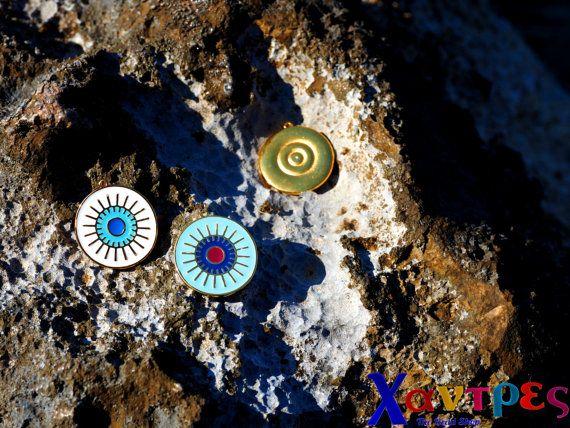 Evil eye pendantjewelry suppliesenamel evil eye by GreekBeadShop