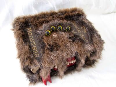 Book of monsters! Fake fur is at Michael's, as well as the fake book.