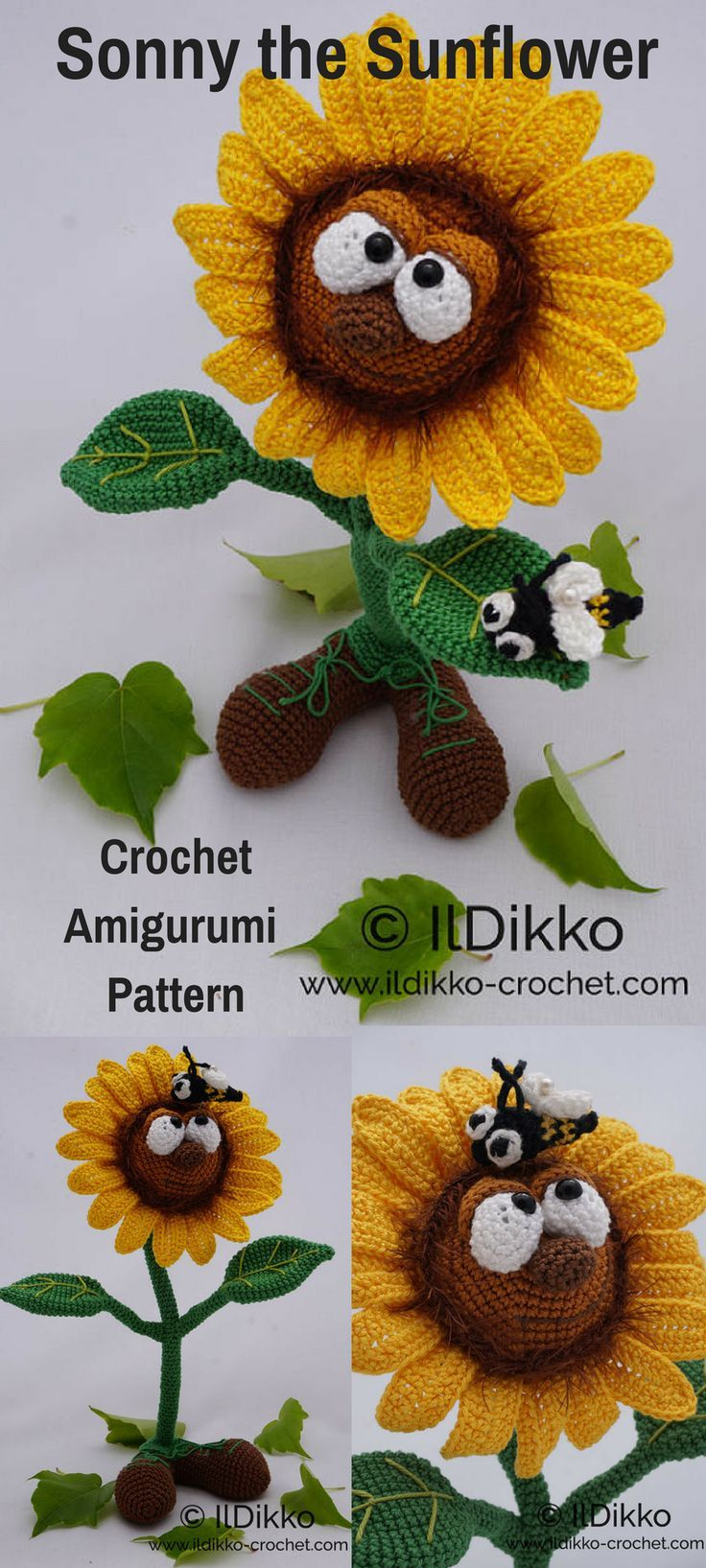 Sonny the Sunflower is a fun crocheted amigurumi doll that would love to walk around your garden. You can create your own Sonny the Sunflower with this downloadable pattern. #crochet #amigurumi #crochetdoll #ad #amigurumidoll #amigurumipattern #sunlower #instantdownload