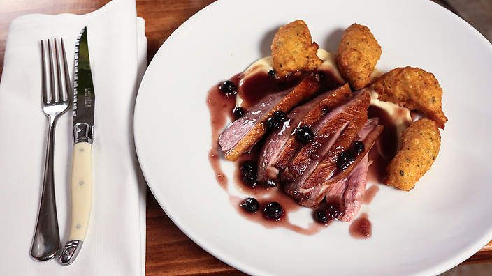 Duck breast with sweet and sour blackcurrant sauce, celeriac purée and pommes dauphines | Alex Bourdon, from French bistro and wine bar Tastevin in Sydney (now closed), shares this recipe for succulent duck breast served with crispy fried potato dumplings, creamy celeriac mash and a sensational blackcurrant sauce.