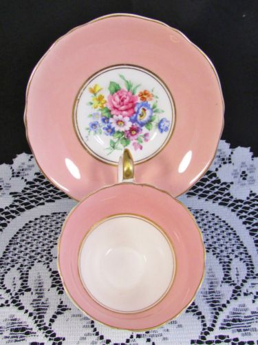 CROWN STAFFORDSHIRE LAVISH FLORAL BLUSH PINK TEA CUP AND SAUCER