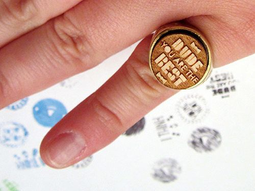 this ring is an interchangeable stamp. coolest thing I have seen in a while!