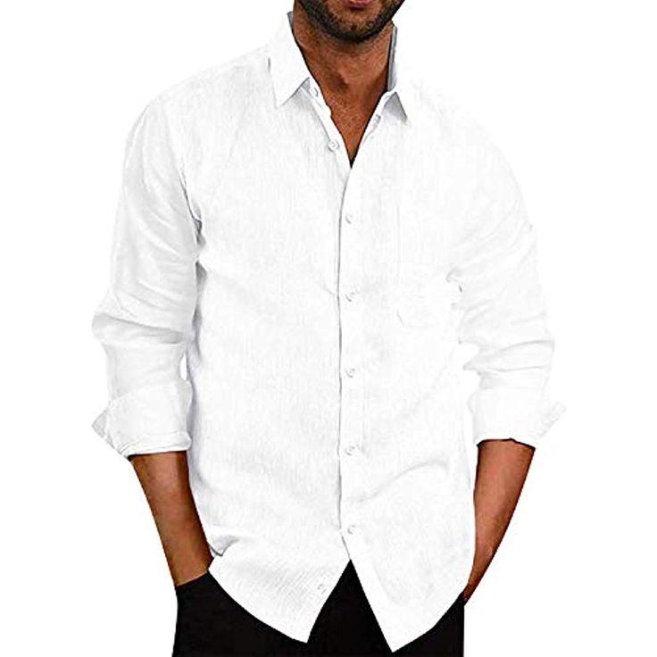 Herren Hemd Shirt Leinenbluse Langarm Kurzarm Top Freizeithemd Strand-Hemden #Be…