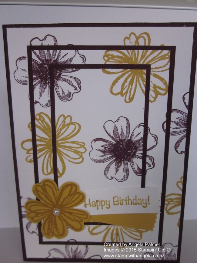 Triple Time Stamping featuring the Flower Shop stamp set with the colours Hello Honey and Blackberry Bliss.