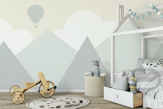 Apr 9, 2020 – Mountain wall decor / nursery wall decor / mountain mural / peel and embroidery mountains#decor #embroider…