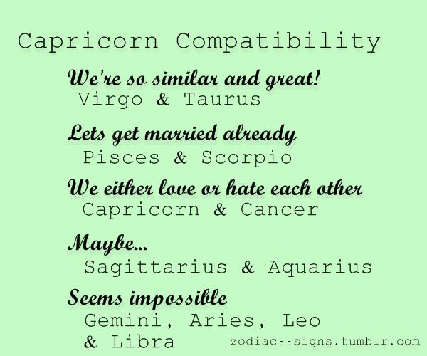 Capricorn Compatibility---I would agree with them all...except Leo...I adore a Leo. :)