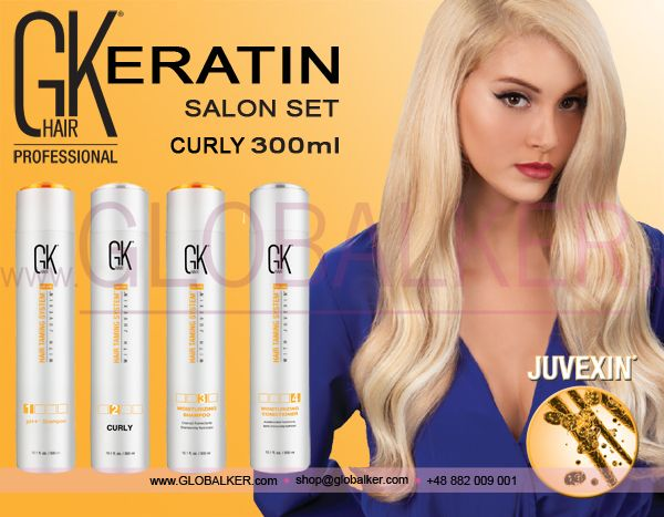 Keratin hair salon set GK Hair Curly 300ml Global Keratin Juvexin