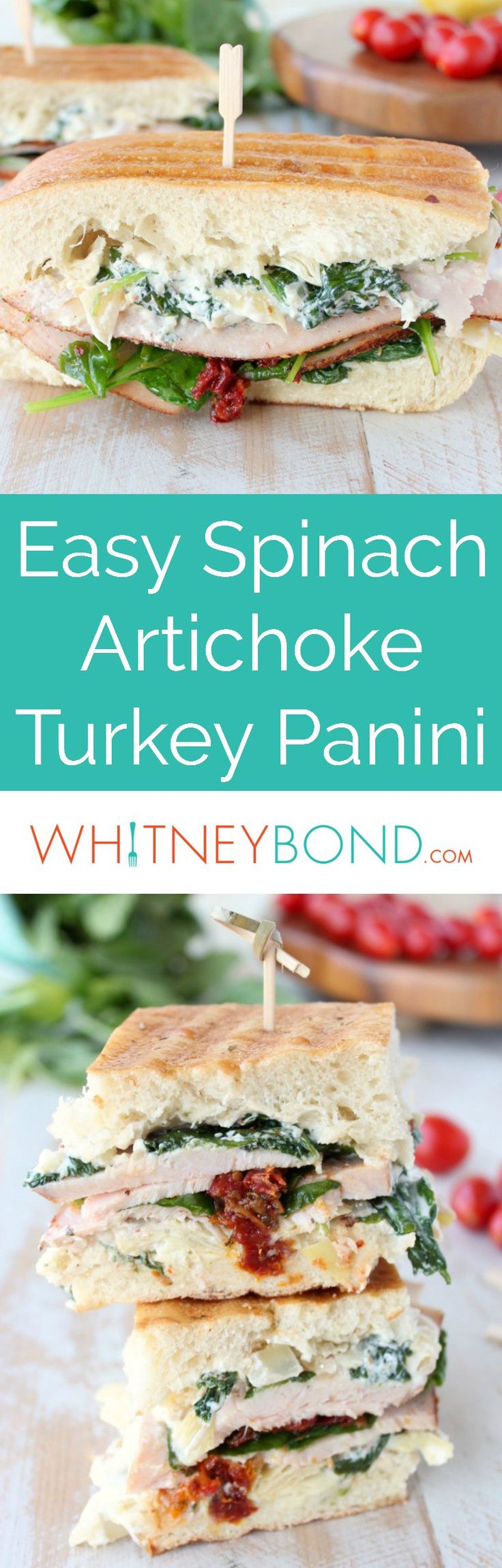 A deliciously creamy spinach artichoke dip is spread on thick, crusty ciabatta bread in this scrumptious, and simple, Turkey Panini recipe.