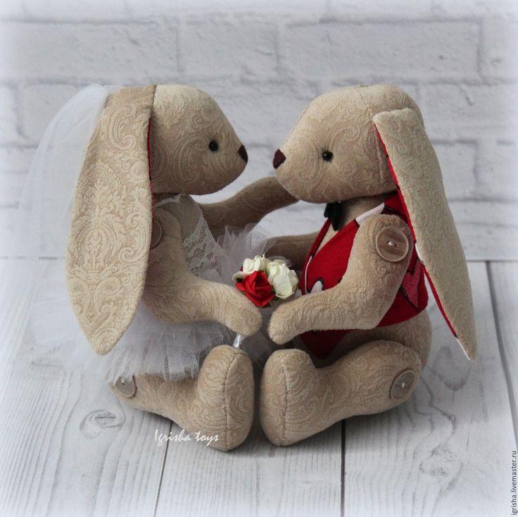 Купить Свадебные зайчата (сердечки) - свадебные зайцы, свадебные зайки, свадебная пара, свадебный подарок