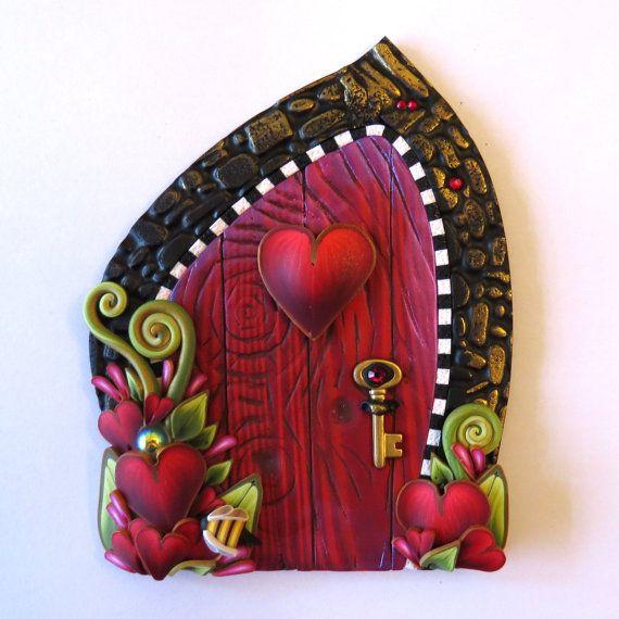 Bee Mine Valentine Fairy Door, Heart Pixie Portal, Holiday Decor
