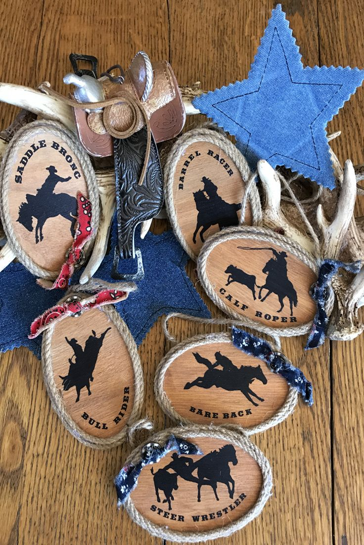 Rodeo Cowboy Christmas Ornaments - country western wood ornaments in 6 designs