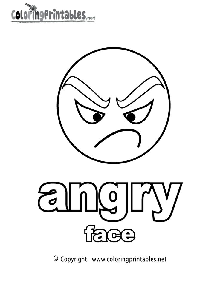 "coloring book pages of childrens faces | Learning adjectives ""Angry Face"" coloring page printable ..."