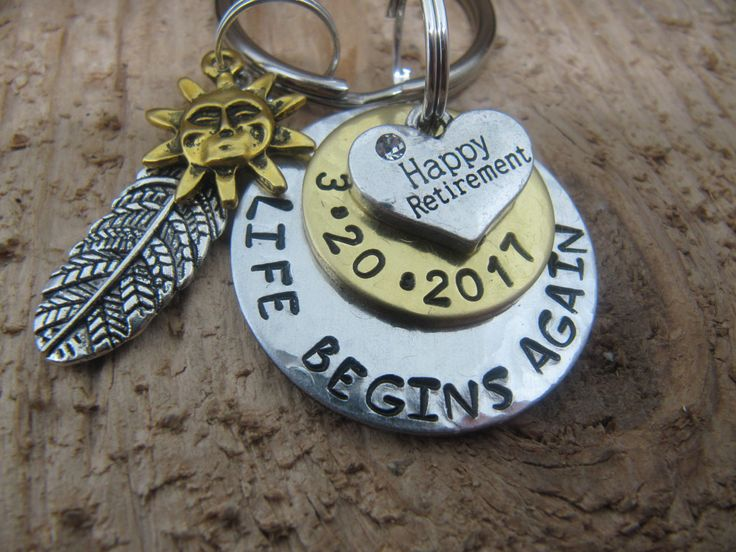 Retirement jewelry, Retirement gift, Gift for Retirement, Hand stamped key chain,Key chain for Retirement, Personalized Retirement gift by InTheQuiet on Etsy