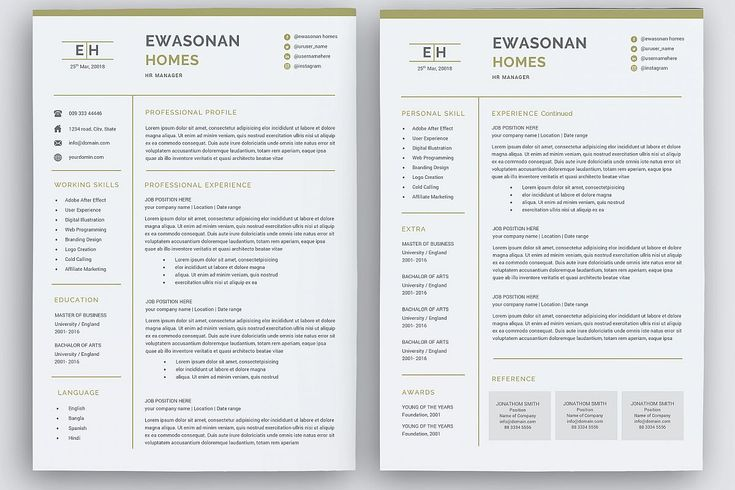 minimal resume 3 pages    cv template for word    two page