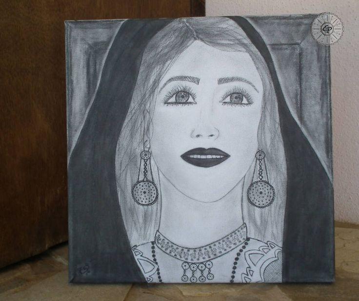 Tela dipinta a mano, Ritratto Donna In costume tipico Sardo di TerraIncantada su Etsy