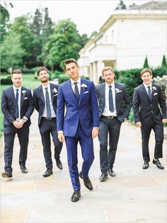 Fitted Blue Groomsmen Suits//Blue Suits, White Shirts, Blue Tie, Flower