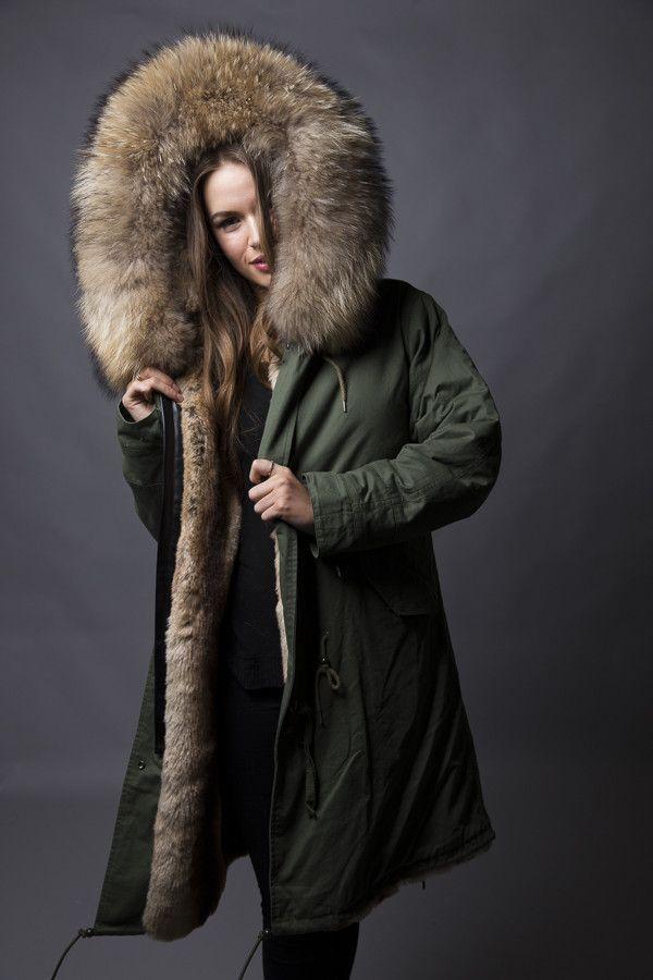 Khaki Parka with Natural Fur (Long)