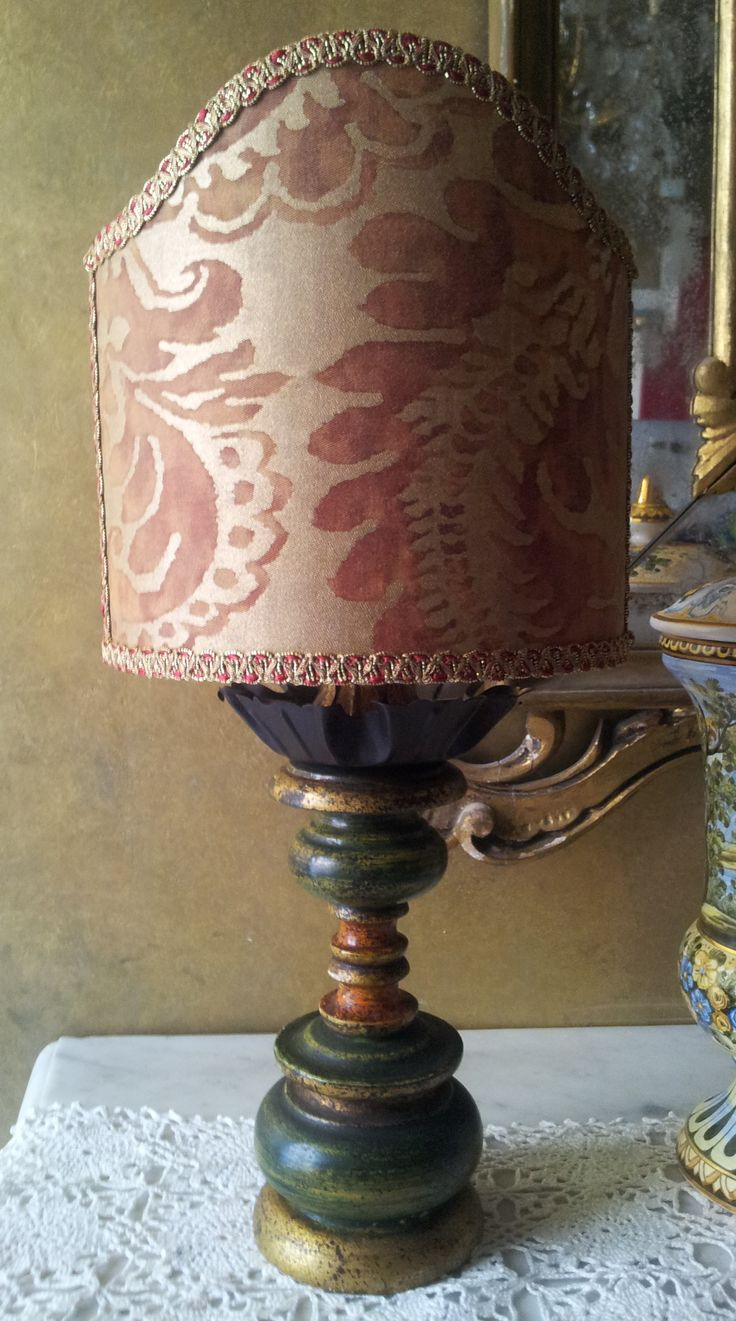 gold turned wooden table lamp with fortuny fabric clip on lamp shade. Black Bedroom Furniture Sets. Home Design Ideas