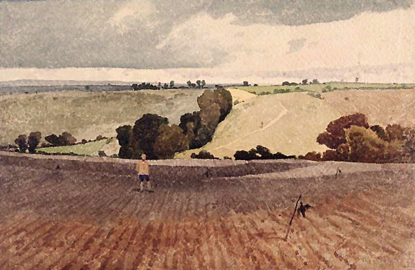 A Ploughed Field by: John Sell Cotman (1782-1842). English landscape painter and etcher. Cotman studied in London and in 1806 settled in Norwich where he opened an art school.