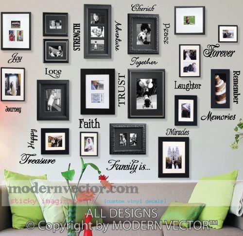 picture collage words vinyl wall quote decals family is love miracle cherish - Picture Collages