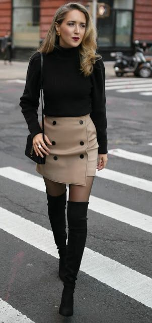 Just a pretty style | Latest fashion trends: Office look | Turtle neck sweater, button up beige skirt and over the knee boots