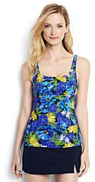Lands' End Women's D-Cup Underwire Squareneck Tankini Top-Blue Tropical/Electric Blue