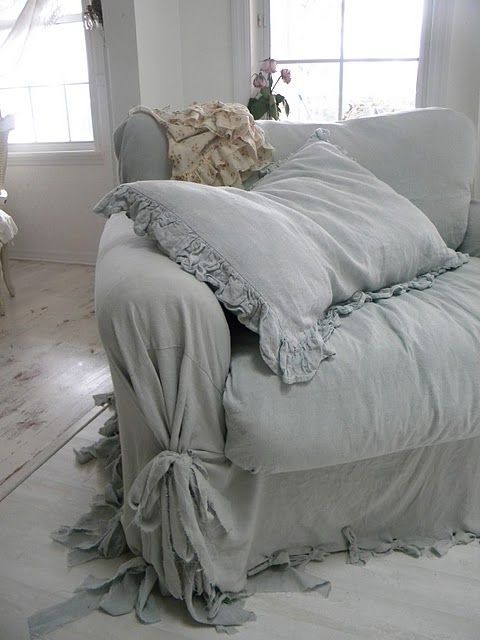 Shabby chic big comfy slipcover chair by Tausha of Simply Me LOVE THISSSSS.