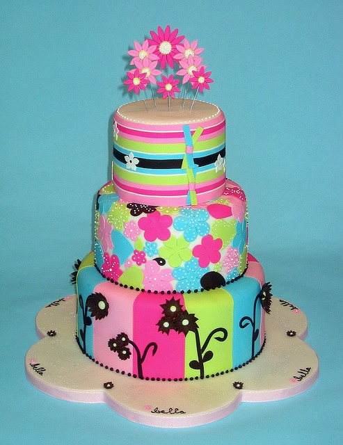 Baby shower cake - you could change up the colors depending on boy or girl!: Baby Shower Cakes, Cakes Ideas, Baby Shower Theme, Colors Cakes, Flowers Cakes, Girls Cakes, Colors Flowers, Bright Colors, Birthday Cakes