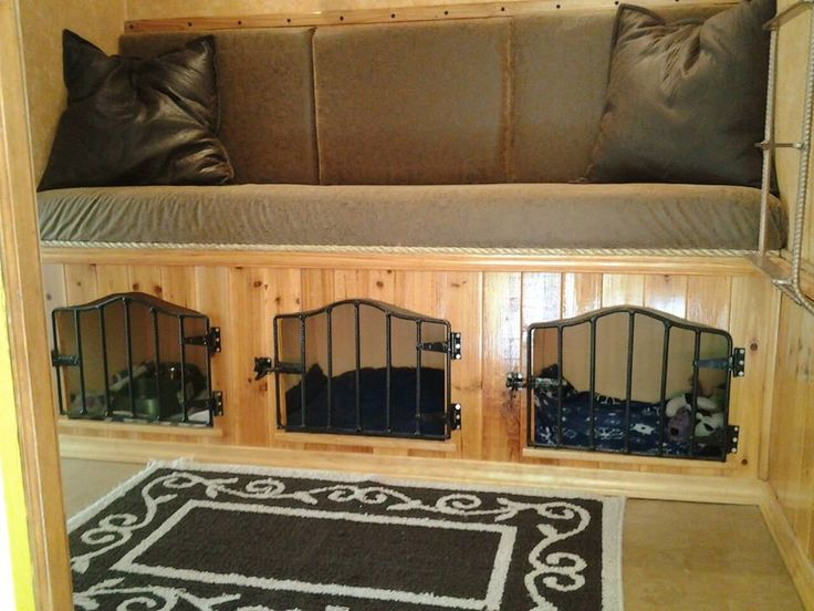 Horse trailer LQ conversion, dog crates added under boot box in horse trailer tack room