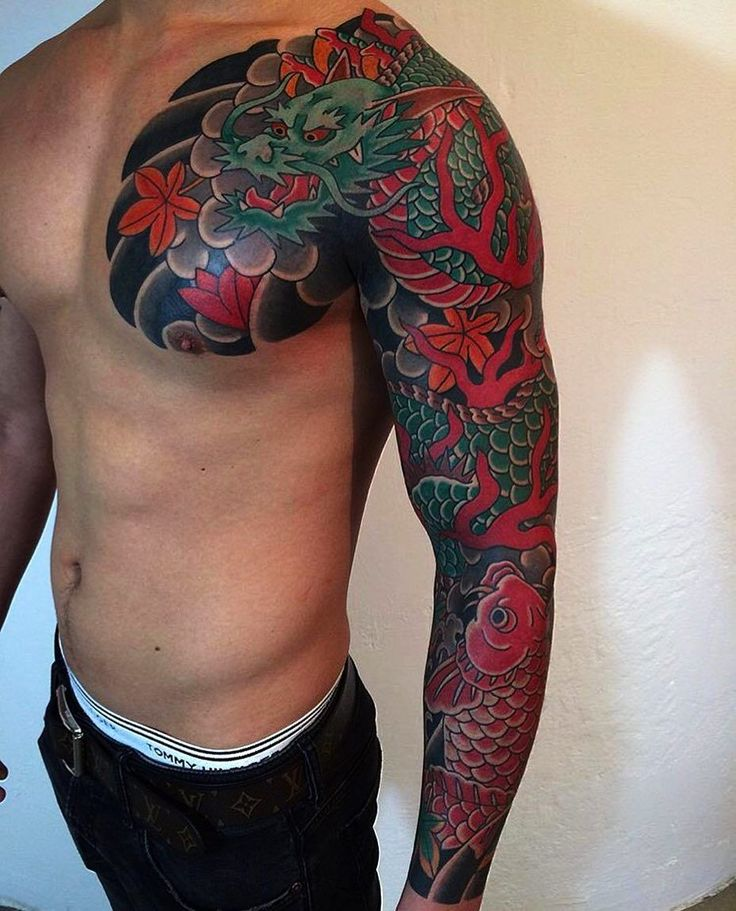 Dragon Sleeve Tattoo Artist: @goshu34
