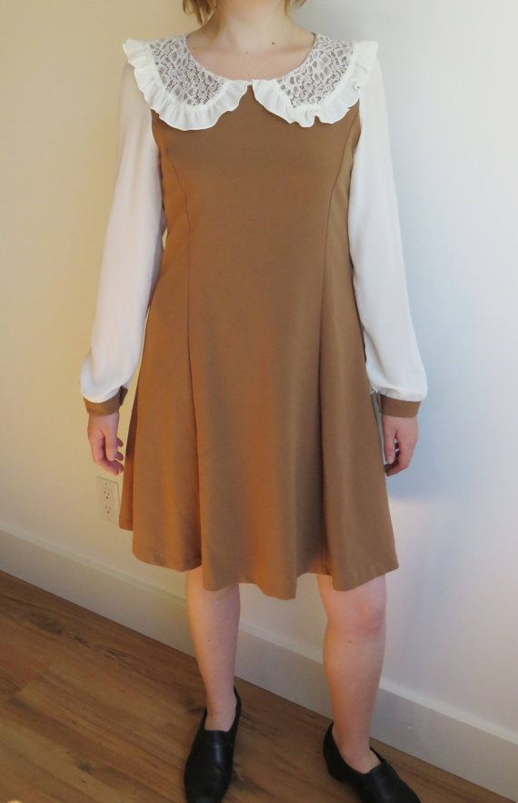 Korean Vintage 60s Mod Midi Go-Go Baby Doll Light Brown and White Twiggy Dress