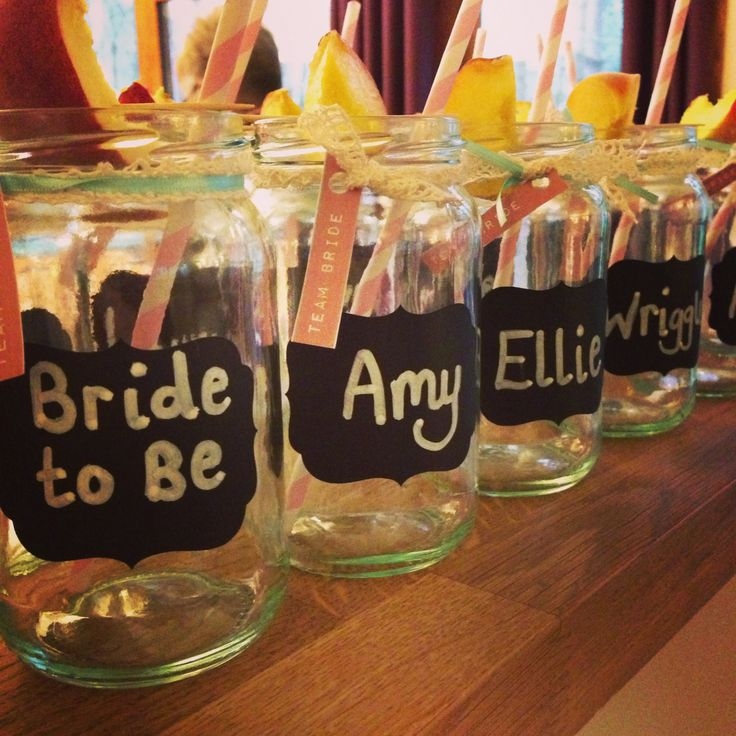 Hen Batchelorette Jam Jar Cocktail Drinks Glasses Blackboard Names Lace. Rustic Chic Pre Wedding Party. By Lucy at www.theappletreegiftshop.co.uk