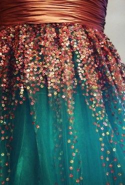 Turquoise and Bronze tulle skirt
