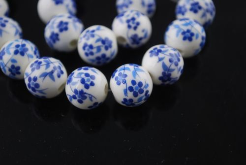 10pcs-12mm-Royal-Blue-Flowers-Round-Porcelain-Ceramic-Loose-Spacer-Bead-Findings