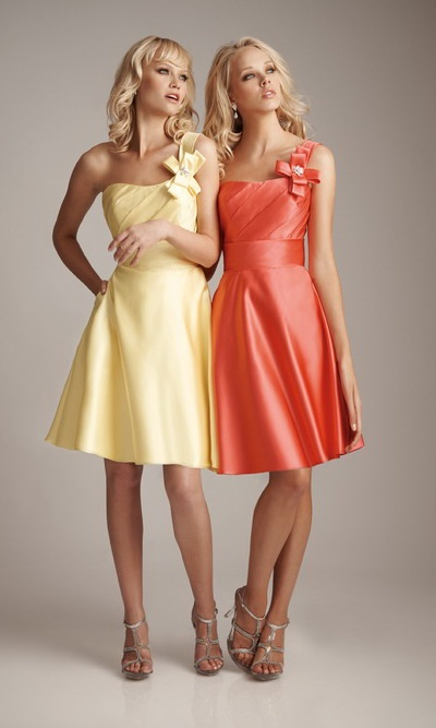 (In Coral) A-Line Floral One Shoulder Ruffled Short Bridesmaids Dresses NDNB124 [NDNB124] - $133.90 : Cheap Bridesmaid Dresses, Bridesmaids Dresses on Sale