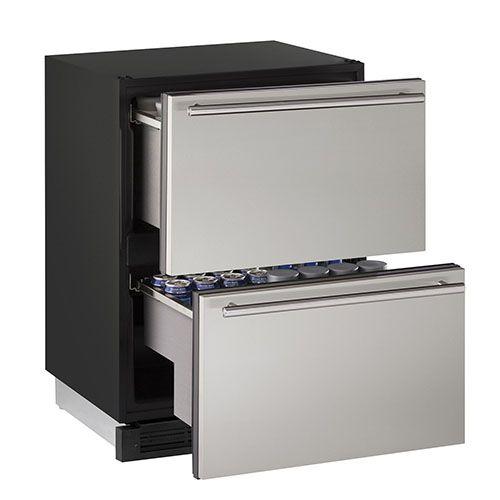 "U-Line 24"" Refrigerator Drawers-Stainless Steel Secondary Image"