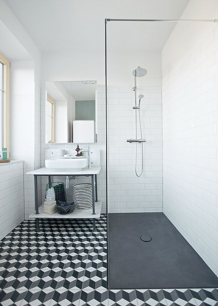 Tile envy! Reckendorfer Residence Austria renovation shower Hansgrohe fixtures.