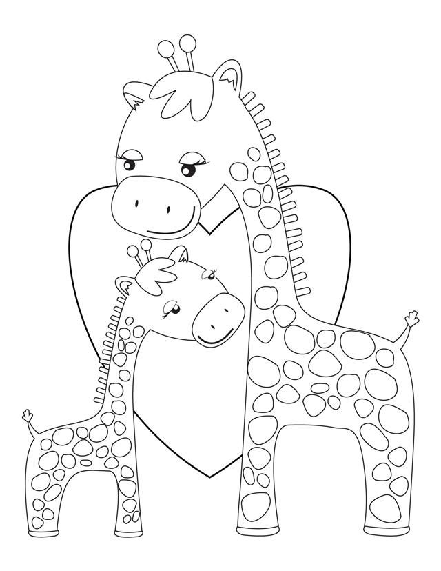 Giraffes hugging - Free Printable - Coloring for the kiddos at the shower, have crayons in a bucket, they can color a picture for baby Collin!