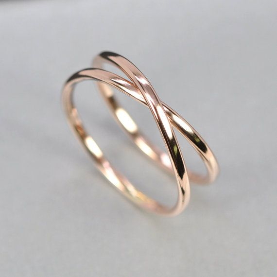 gold infinity ring 14k rose any size available unique wedding band sea babe jewelry - Unique Wedding Ring